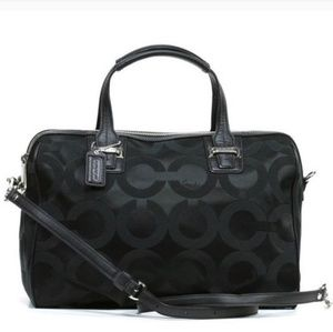 Coach Taylor Op Art Black Big C Satchel silver